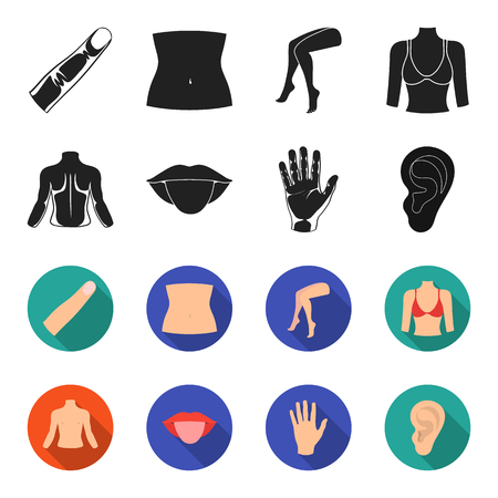 Back of the person, mouth, hand, ear. Part of the body set collection icons in black,flet style vector symbol stock illustration . Иллюстрация