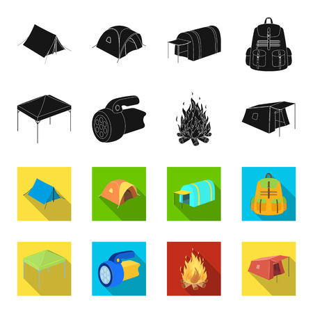 Awning, fire and other tourist equipment.Tent set collection icons in black,flet style vector symbol stock illustration .