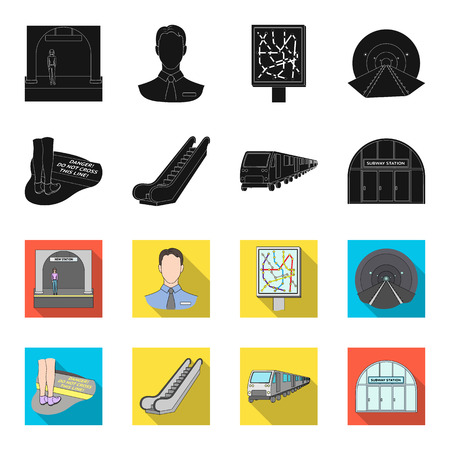 Electric, transport, equipment and other  icon in black,flet style.Public, transportation,machineryicons in set collection Vectores