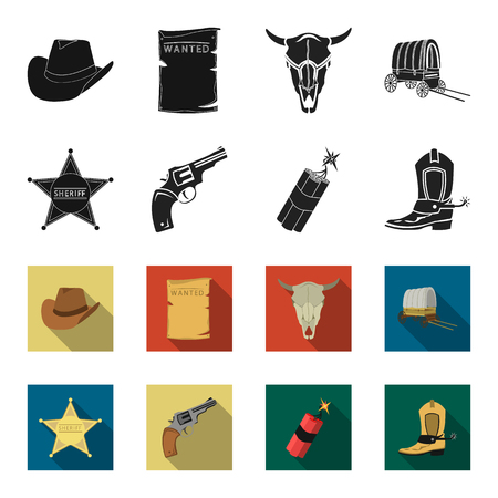 Star sheriff, Colt, dynamite, cowboy boot. Wild West set collection icons in black,flet style vector symbol stock illustration . Vettoriali