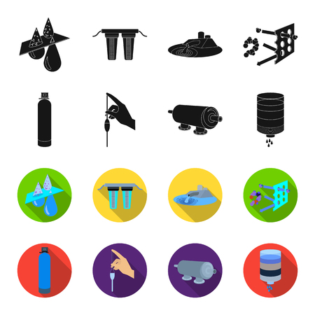 Purification, water, filter, filtration .Water filtration system set collection icons in black,flet style vector symbol stock illustration .