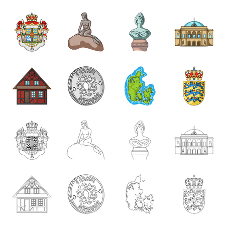 House, residential, style, and other web icon in cartoon,outline style. Country, Denmark, sea, icons in set collection.