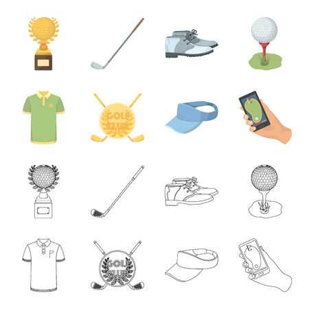 Emblem of the golf club, cap with a visor, golfer shirt, phone with a navigator.Golf club set collection icons in cartoon,outline style vector symbol stock illustration web. Stock Illustratie