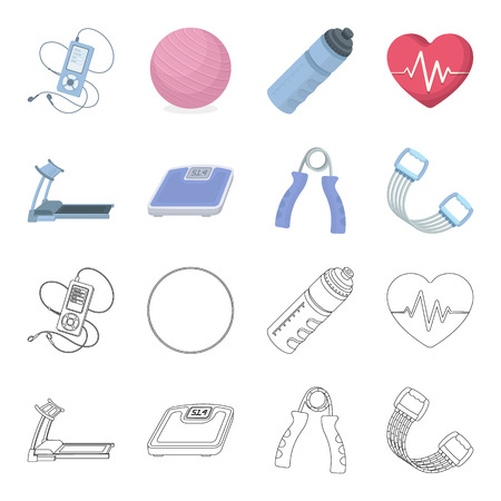 Treadmill, scales, expander and other equipment for training.Gym and workout set collection icons in cartoon,outline style vector symbol stock illustration web.