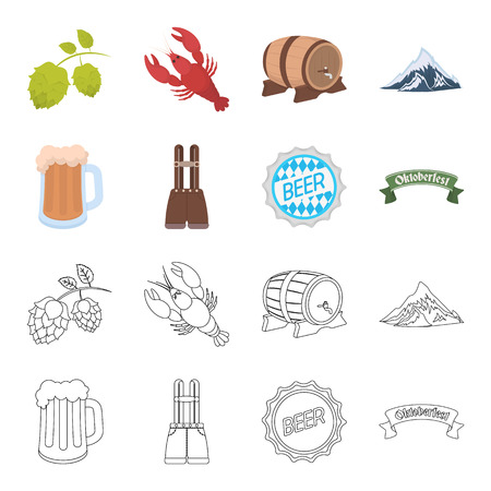 Shorts with suspenders, a glass of beer, a sign, an emblem. Oktoberfest set collection icons in cartoon,outline style vector symbol stock illustration web.