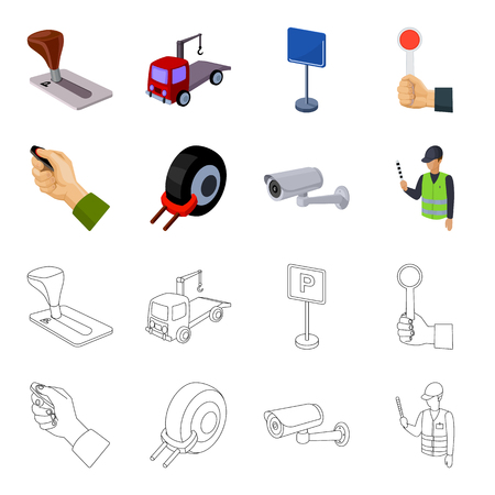 Car alarm, wheel rim, security camera, parking assistant. Parking zone set collection icons in cartoon,outline style vector symbol stock illustration web.