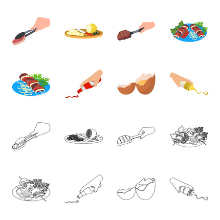Shish kebab with vegetables, ketchup and mustard, seasoning for food, broken egg. Food and Cooking set collection icons in cartoon,outline style vector symbol stock illustration web.