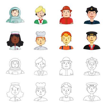 A nurse in a dressing gown, a cook , a builder , a taxi driver. People of different professions set collection icons in cartoon,outline style vector symbol stock illustration web.