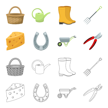 Cheese with holes, a trolley for agricultural work, a horseshoe made of metal, a pruner for cutting trees, shrubs. Farm and gardening set collection icons in cartoon,outline style vector symbol stock illustration web.