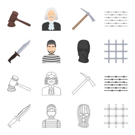 Knife, prisoner, mask on face, steel grille. Prison set collection icons in cartoon,outline style vector symbol stock illustration web. Illustration