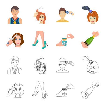 Curling hair, high heels and other web icon in cartoon,outline style. A pack of cigarettes, a bottle of champagne in hand icons in set collection.
