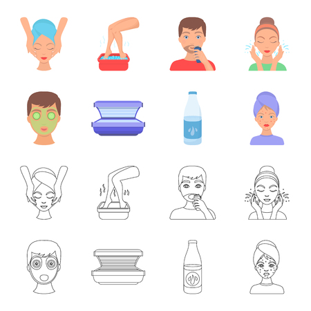 Face mask, solarium, bottle ts lasenom, pimples on face. Skin Care set collection icons in cartoon,outline style vector symbol stock illustration web.