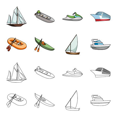 A rubber fishing boat, a kayak with oars, a fishing schooner, a motor yacht.Ships and water transport set collection icons in cartoon,outline style vector symbol stock illustration web.
