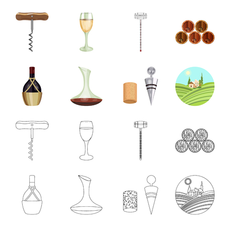 A bottle of wine in a basket, a gafine, a corkscrew with a cork, a grape valley. Wine production set collection icons in cartoon,outline style vector symbol stock illustration web. Foto de archivo - 101929345
