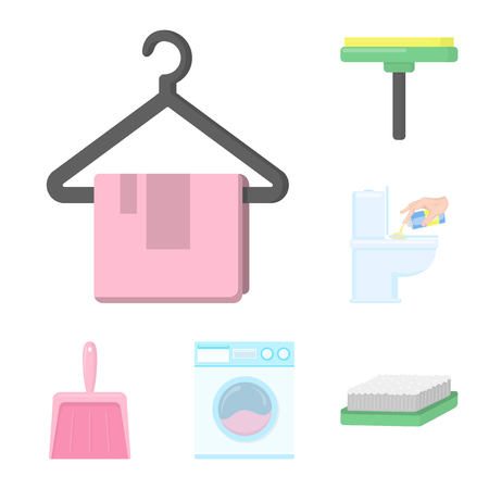 Cleaning and maid cartoon icons in set collection for design. Equipment for cleaning vector symbol stock web illustration. Vectores