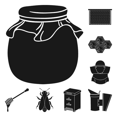 Apiary and beekeeping black icons in set collection for design.Equipment and production of honey vector symbol stock web illustration. Illustration