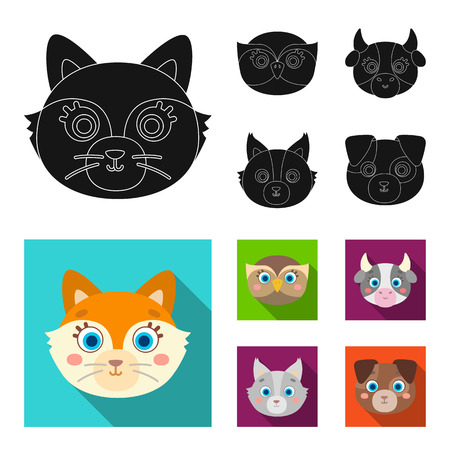 Owl, cow, wolf, dog. Animal muzzle set collection icons in black, flat style vector symbol stock illustration web.