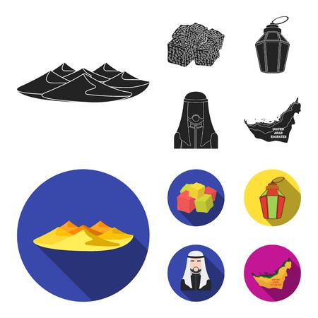 Eastern sweets, Ramadan lamp, Arab sheikh, territory.Arab emirates set collection icons in black, flat style vector symbol stock illustration web.