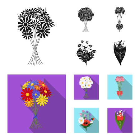A bouquet of fresh flowers black, flat icons in set collection for design. Various bouquets vector symbol stock web illustration. Vettoriali