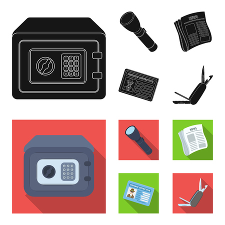 Flashlight, newspaper with news, certificate, folding knife.Detective set collection icons in black, flat style vector symbol stock illustration web. Illustration