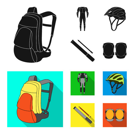 Full-body suit for the rider, helmet, pump with a hose, knee protectors.Cyclist outfit set collection icons in black, flat style vector symbol stock illustration web.