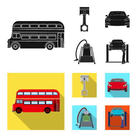 Car on lift, piston and pump black, flat icons in set collection for design.Car maintenance station vector symbol stock illustration web. Vectores