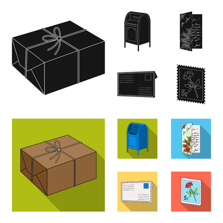 Mailbox, congratulatory card, postage stamp, envelope.Mail and postman set collection icons in black, flat style vector symbol stock illustration web. Ilustração