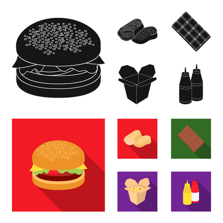 Chocolate, noodles, nuggets, sauce.Fast food set collection icons in black, flat style vector symbol stock illustration web. 일러스트