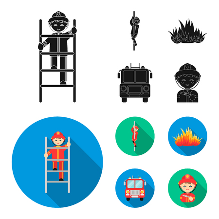 Fireman, flame, fire truck. Fire departmentset set collection icons in black, flat style vector symbol stock illustration web. Illustration