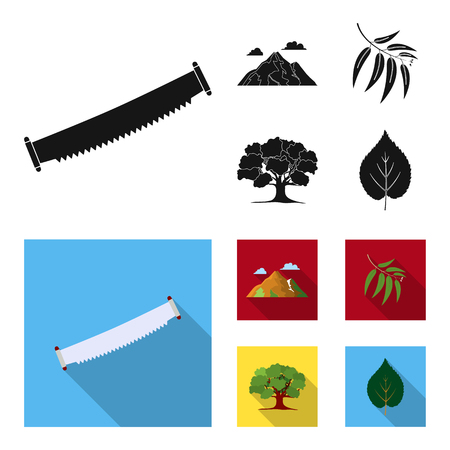 Mountain, cloud, tree, branch, leaf.Forest set collection icons in black, flat style vector symbol stock illustration web.