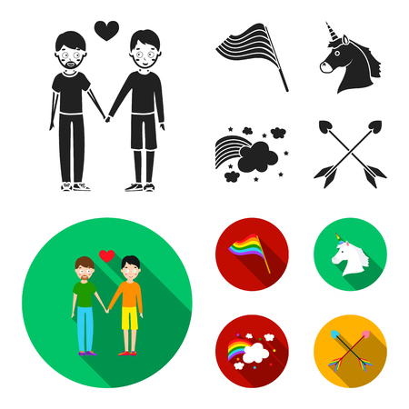 Flag, unicorn symbol, arrows with heart.Gay set collection icons in black, flat style vector symbol stock illustration web. Иллюстрация