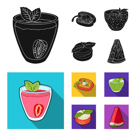 Sweet Bulgarian pepper, vitamin drink, jam with raspberry and mint leaves, a piece of watermelon. Vegetarian dishes set collection icons in black, flat style vector symbol stock illustration web.