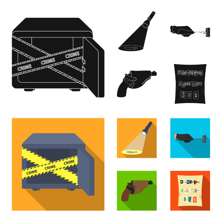 The detective flashlight illuminates the footprint, the criminal hand with the master key, a pistol in the holster, the kidnapper claim. Crime and detective set collection icons in black, flat style vector symbol stock illustration web.