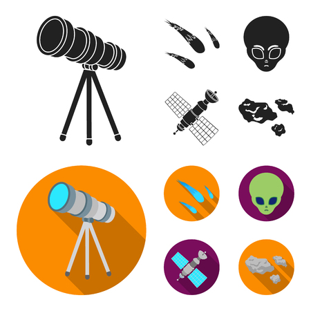 Asteroid, car, meteorite, space ship, station with solar batteries, the face of an alien. Space set collection icons in black, flat style vector symbol stock illustration web.