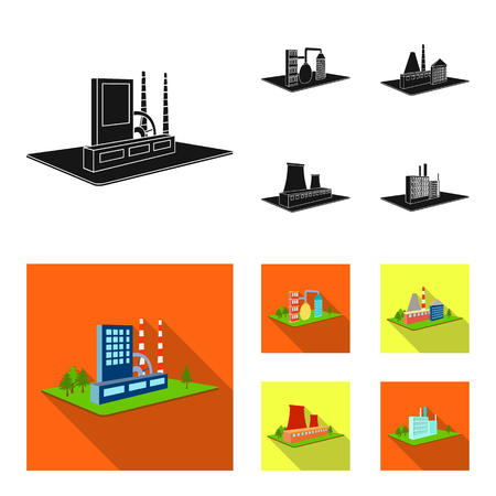 Processing factory,metallurgical plant. Factory and industry set collection icons in black, flat style isometric vector symbol stock illustration web.