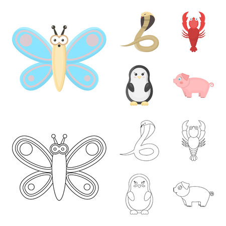 An unrealistic cartoon,outline animal icons in set collection for design. Toy animals vector symbol stock web illustration. Çizim