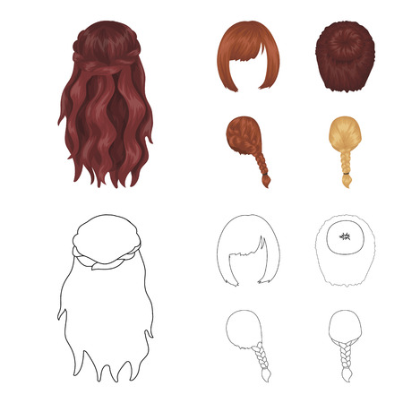 Kara, red braid and other types of hairstyles. Back hairstyle set collection icons in cartoon,outline style vector symbol stock illustration web.