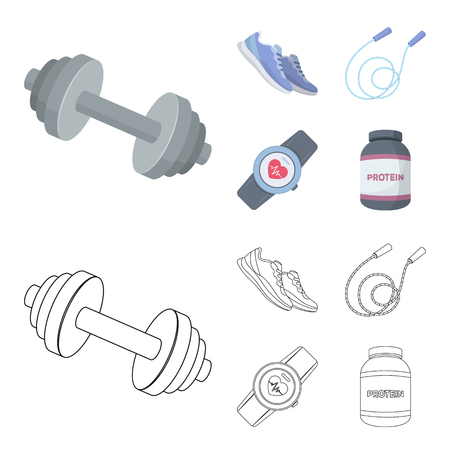 Dumbbell, rope and other equipment for training.Gym and workout set collection icons in cartoon,outline style vector symbol stock illustration web.