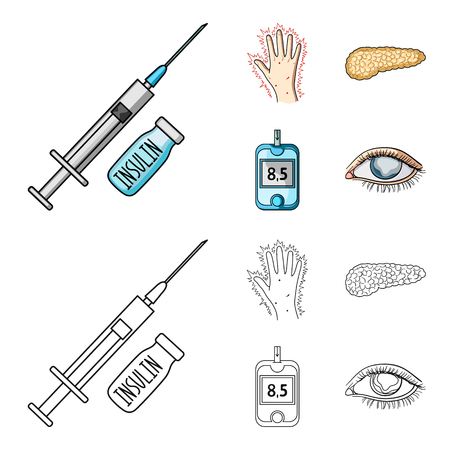 Syringe with insulin, pancreas, glucometer, hand diabetic. Diabet set collection icons in cartoon,outline style vector symbol stock illustration web.