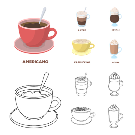 American, late, irish, cappuccino.Different types of coffee set collection icons in cartoon,outline style vector symbol stock illustration web. Illustration