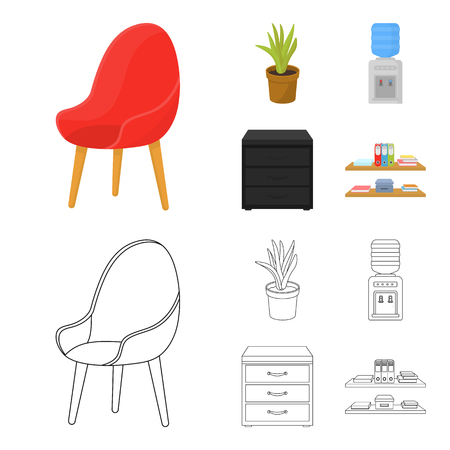 A red chair with a comfortable back, an aloe flower in a pot, an apparatus with clean water, a cabinet for office papers. Office Furniture set collection icons in cartoon,outline style vector symbol stock illustration web.