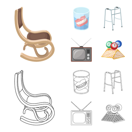 Denture, rocking chair, walker, old TV.Old age set collection icons in cartoon,outline style vector symbol stock illustration web.