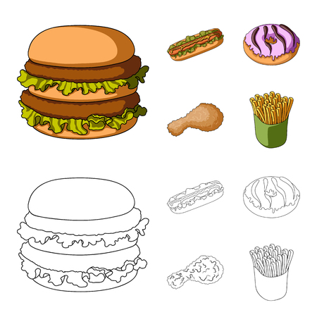 Fast ,food, meal, and other web icon in cartoon,outline style.Hamburger, bun, flour, icons in set collection. Ilustracja