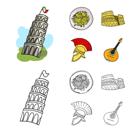 Pisa tower, pasta, coliseum, Legionnaire helmet.Italy country set collection icons in cartoon,outline style vector symbol stock illustration web. Vettoriali