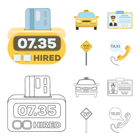 The counter of the fare in the taxi, the taxi car, the driver badge, the parking lot of the car. Taxi set collection icons in cartoon,outline style vector symbol stock illustration web.