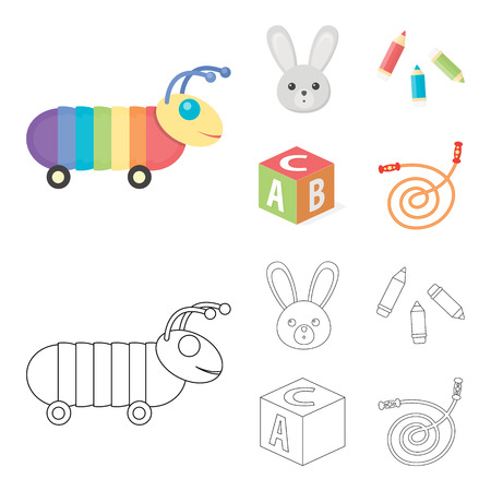 Children toy cartoon,outline icons in set collection for design. Game and bauble vector symbol stock web illustration. Illusztráció