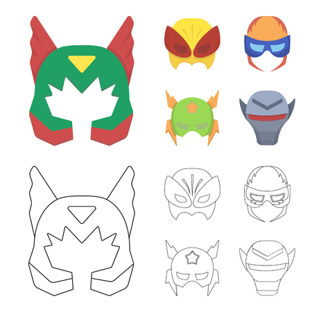 Mask on the head, helmet.Mask super hero set collection icons in cartoon,outline style vector symbol stock illustration web.
