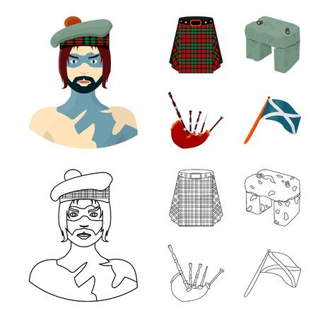 Highlander, Scottish Viking, tartan, kilt, scottish skirt, scone stone, national musical instrument of bagpipes. Scotland set collection icons in cartoon,outline style vector symbol stock illustration web. Ilustração