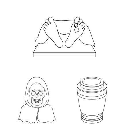 Funeral ceremony outline icons in set collection for design. Funerals and Attributes vector symbol stock web illustration.