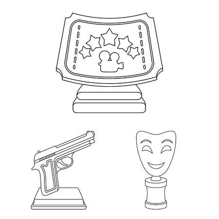 Film awards and prizes outline icons in set collection for design. The World Film Academy vector symbol stock web illustration.